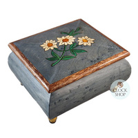 Blue Wooden Music Box With Edelweiss Inlay Tune Edelweiss