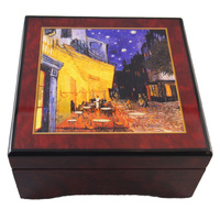 Wooden Musical Jewellery Box With Cafe In Arles (van Gough) - Tune Claire De Lune