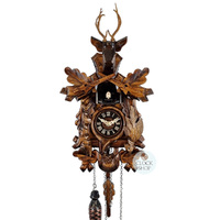Carved Battery After The Hunt Scene 26cm Cuckoo Clock By ENGSTLER