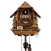 CHALET BATTERY WITH BEARS 25CM CUCKOO CLOCK BY ENGSTLER