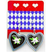 Bavarian - Earring Black Heart Edelweiss
