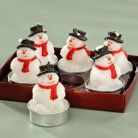 Candle Tealight Snowman 6 Pack