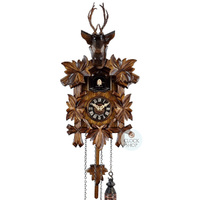 CARVED BATTERY DEER HEAD 30CM CUCKOO CLOCK BY ENGSTLER