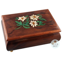 BROWN WOODEN MUSICAL JEWELLERY BOX WITH EDELWEISS INLAY TUNE EDELWEISS