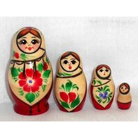 Kirov Russian Nesting Dolls 4 Set With White Scarf & Red Dress 7cm