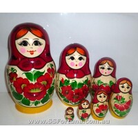 KIROV RUSSIAN NESTING DOLLS 7 SET WITH RED SCARF & YELLOW DRESS 14.5CM