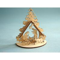 Manger Lazer Cut Wood Christmas Tree Decoration 11cm