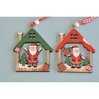 Santa House Natural Wood 6cm