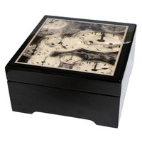 Black Wooden Musical Jewellery Box With Clock Dials Tune As Time Goes By