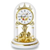WHITE BRASS FLORAL DIAL ANNIVERSARY CLOCK ROMAN NUMERALS 23CM