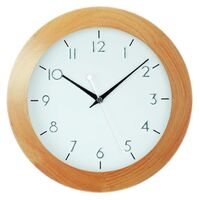 NATURAL WOOD ROUND WALL CLOCK 29CM BY AMS