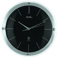 SILVER/BLACK GLASS ROUND WALL CLOCK 31CM BY AMS