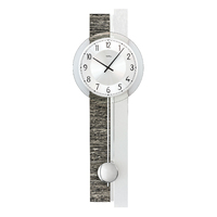 CHARCOAL AND SILVER BATTERY WALL CLOCK WITH SILVER DIAL BY AMS