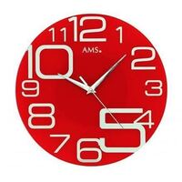 40cm Round Red Glass Modern Wall Clock By AMS
