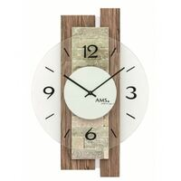 WOOD GRAIN BATTERY WALL CLOCK WITH STONE INLAY AND GLASS DIAL BY AMS