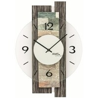 CHARCOAL BATTERY WALL CLOCK WITH STONE INLAY AND GLASS DIAL BY AMS