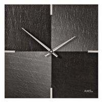 Black And Grey Slate Tile Modern Wall Clock 30cm By AMS