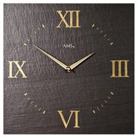 BLACK SLATE SQUARE WALL CLOCK 30CM BY AMS