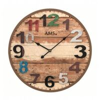 Antique Wooden Slat Round Wall Clock With Coloured Numbers 50cm By AMS