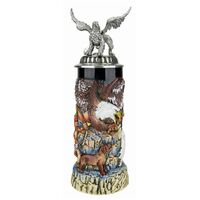GRIFFIN BEER STEIN WITH PEWTER GRIFFIN ON PEWTER LID BY KING