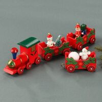 Train Red 3 Wagon Wooden 27cm