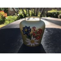 GOLD COW BELL # 5 PAINTED WITH ALPINE FLOWERS