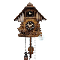 Chalet Horses With Logger Battery 21cm Cuckoo Clock By ENGSTLER