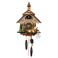 Chalet Battery Wood Chopper And Waterwheel 35cm Cuckoo Clock By ENGSTLER