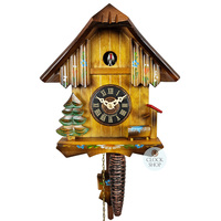 CHALET 1 DAY HAND PAINTED FLOWERS 20CM 1/4 HOUR CALL CUCKOO CLOCK BY ENGSTLER