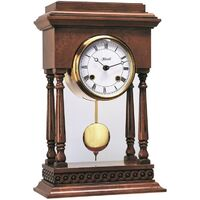 Walnut Mantle Striking Clock With Exposed Pendulum By HERMLE