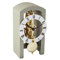 GREY MECHANICAL SKELETON TABLE CLOCK BY HERMLE