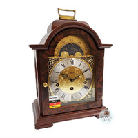 WALNUT BRACKET TABLE CLOCK WITH MOON PHASE 30CM BY HERMLE