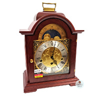 MAHOGANY BRACKET TABLE CLOCK WITH MOON DIAL BY HERMLE