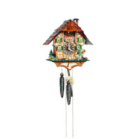 CHALET HUNTER WITH FOREST ANIMALS & MOVING ARM CUCKOO CLOCK 28CM BY SCHNEIDER