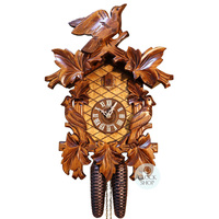 Carved 8 Day Birds On The Side 42cm Cuckoo Clock By SCHNEIDER