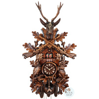 CARVED 8 DAY MUSICAL BEFORE THE HUNT SCENE 75CM CUCKOO CLOCK BY SCHNEIDER