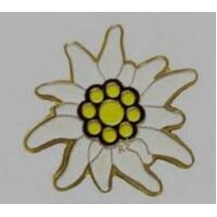 Edelweiss White With Gold Edge Hat Pin