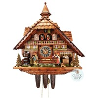 CHALET BLACK FORREST CLOCK MAKER WITH LIGHTS CUCKOO CLOCK 55CM BY HONES
