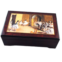 WOODEN MUSICAL JEWELLERY BOX WITH BALLERINA WARM UP AND DANCING BALLERINA TUNE EMPERORS WALTZ