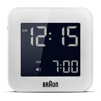 WHITE DIGITAL TRAVEL ALARM CLOCK BY BRAUN