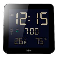 BLACK DIGITAL WALL/TABLE CLOCK WITH DAY/DATE/TEMPERATURE BY BRAUN