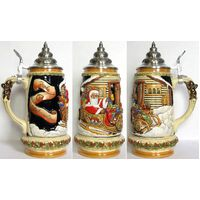 SANTA CLAUS WITH REINDEER BEER STEIN WITH PEWTER LID BY KING