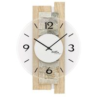BEECH BATTERY WALL CLOCK WITH STONE INLAY AND GLASS DIAL BY AMS