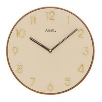 WOOD BATTERY WALL CLOCK ROUND CREAM DIAL 33CM BY AMS