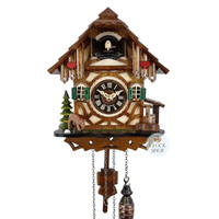 CHALET BATTERY DEER WITH WATER TROUGH 23CM CUCKOO CLOCK BY ENGSTLER