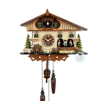 Chalet Battery Water Wheel And Dancers On The Side 25cm Cuckoo Clock By ENGSTLER