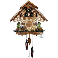 CHALET BATTERY WOOD CHOPPER, WATERWHEEL AND DANCERS 34CM CUCKOO CLOCK BY ENGSTLER