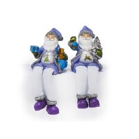 SHELF SITTER SANTA DRESSED IN PURPLE 18CM 2 DESIGNS