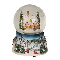 Christmas Snow Globe Forest House with Music