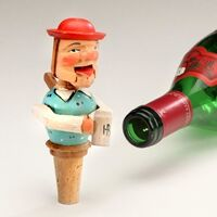 Carved Bottle Stopper Man and HB Beer Mug